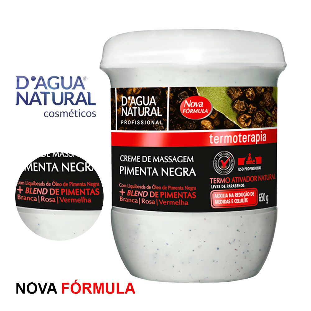 Creme de Massagem Pimenta Negra + Blend de Pimentas 650g D'água Natural
