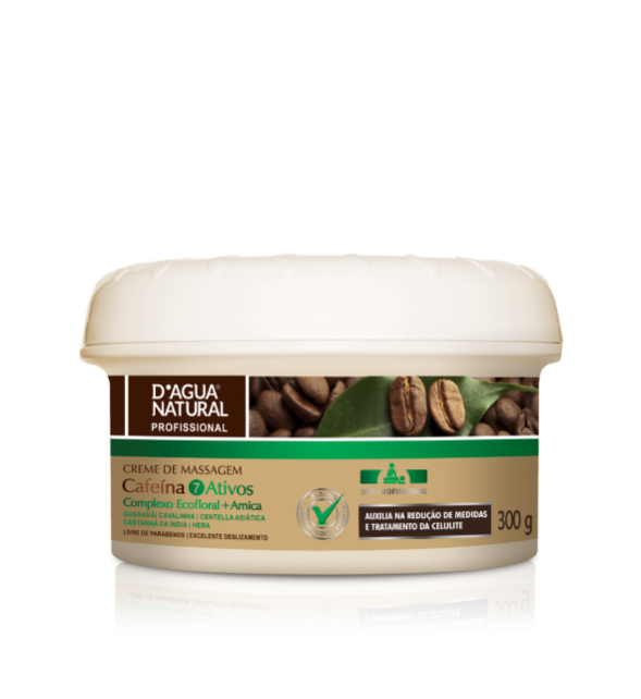 Creme Massagem Corporal Cafeína 7 Ativos 300g Dagua Natural