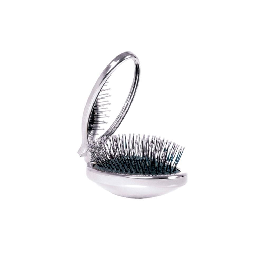 Escova Portátil Com Espelho Prata Wet Brush Pro