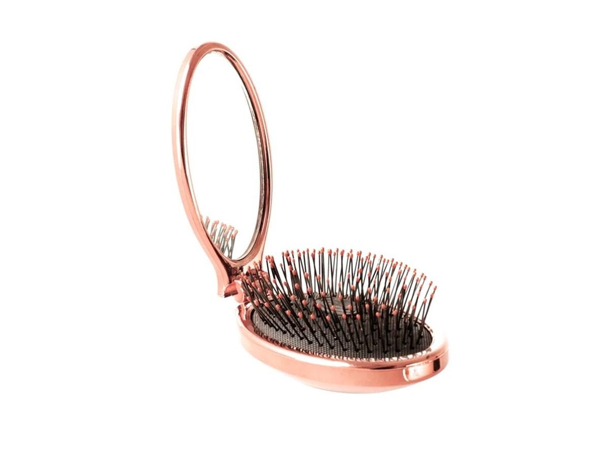 Escova Portátil Com Espelho Rosê Wet Brush Pro