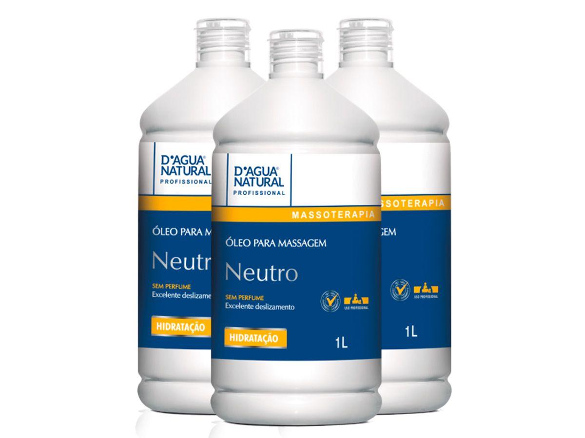 Kit 03 Óleo Para Massagem sem Perfume de 1l Dagua Natural