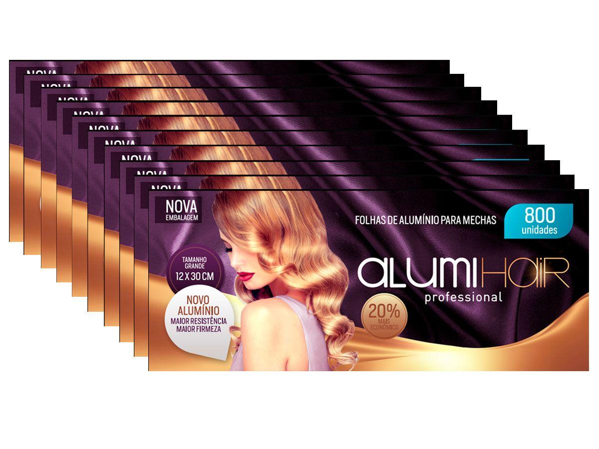 Kit 10 Caixas de Papel Aluminio Para Mechas Alumi Hair - 800 Folhas - 12x30cm