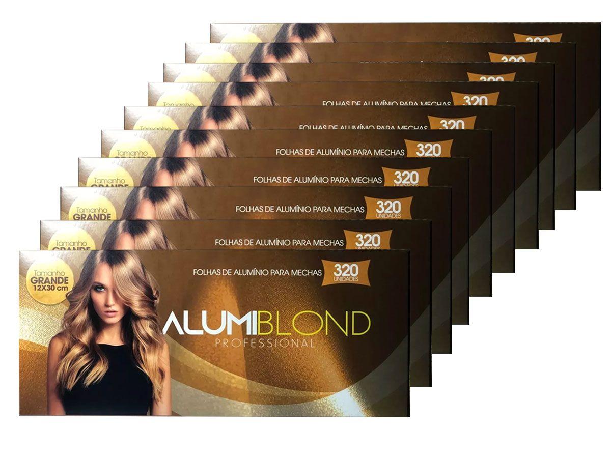 Kit 10 Caixas de Papel Alumínio para Mechas Alumiblonde - 320 Folhas - 9,5x30 320unid