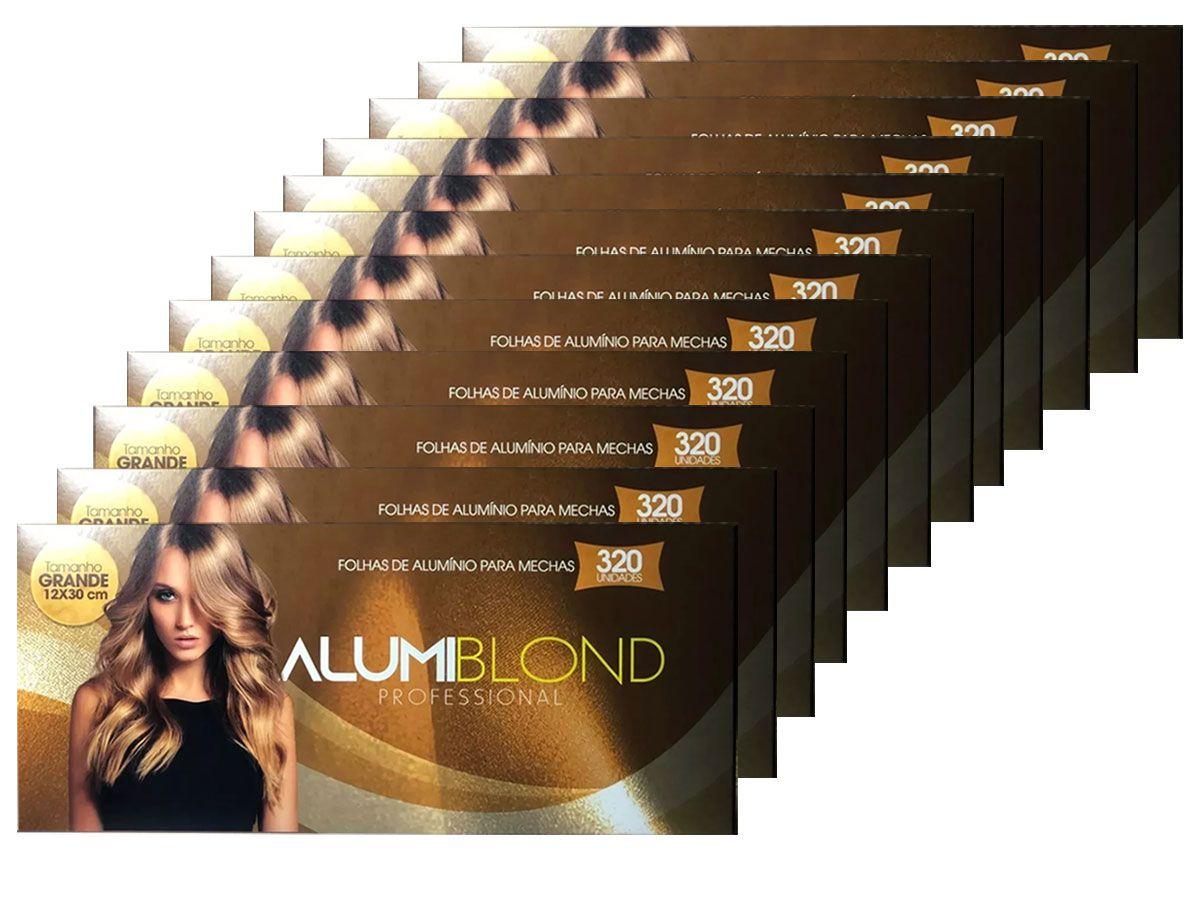 Kit 12 Caixas de Papel Alumínio para Mechas Alumiblonde - 320 Folhas - 9,5x30 320unid
