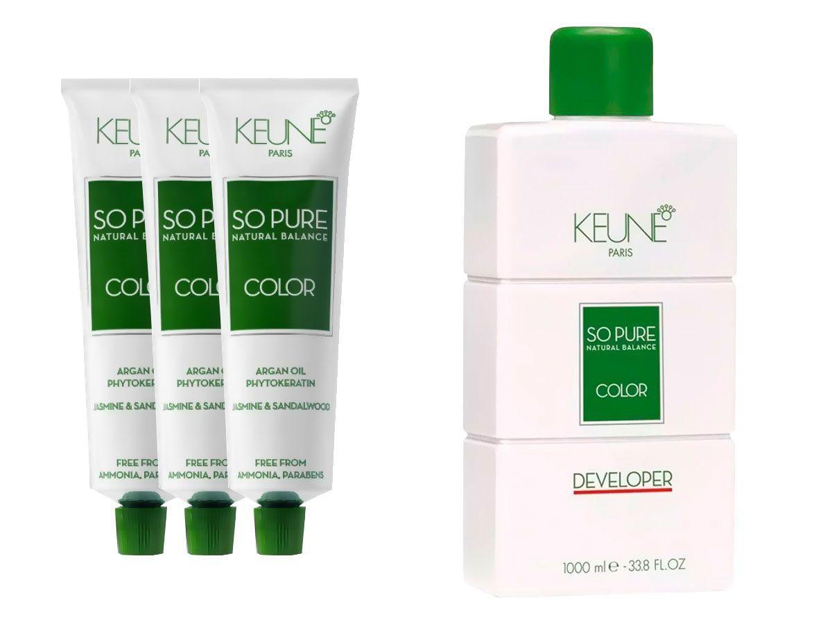 Kit 2 Colorações Keune So Pure 8 + Keune So Pure 8.31 + Oxidante 20V 1000ml