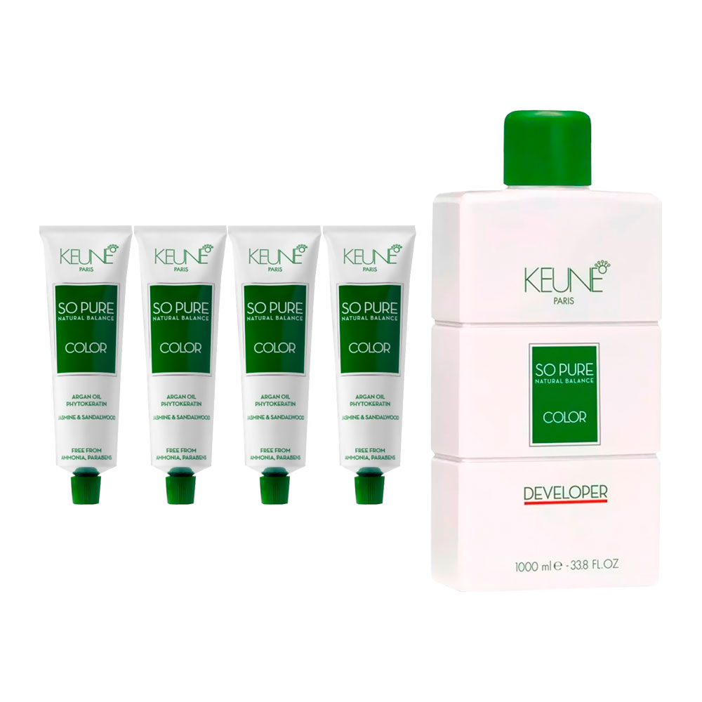 Kit 2 Colorações So Pure 6 + 2 Colorações So Pure 6.3 + Oxidante 20Vol 1000ml