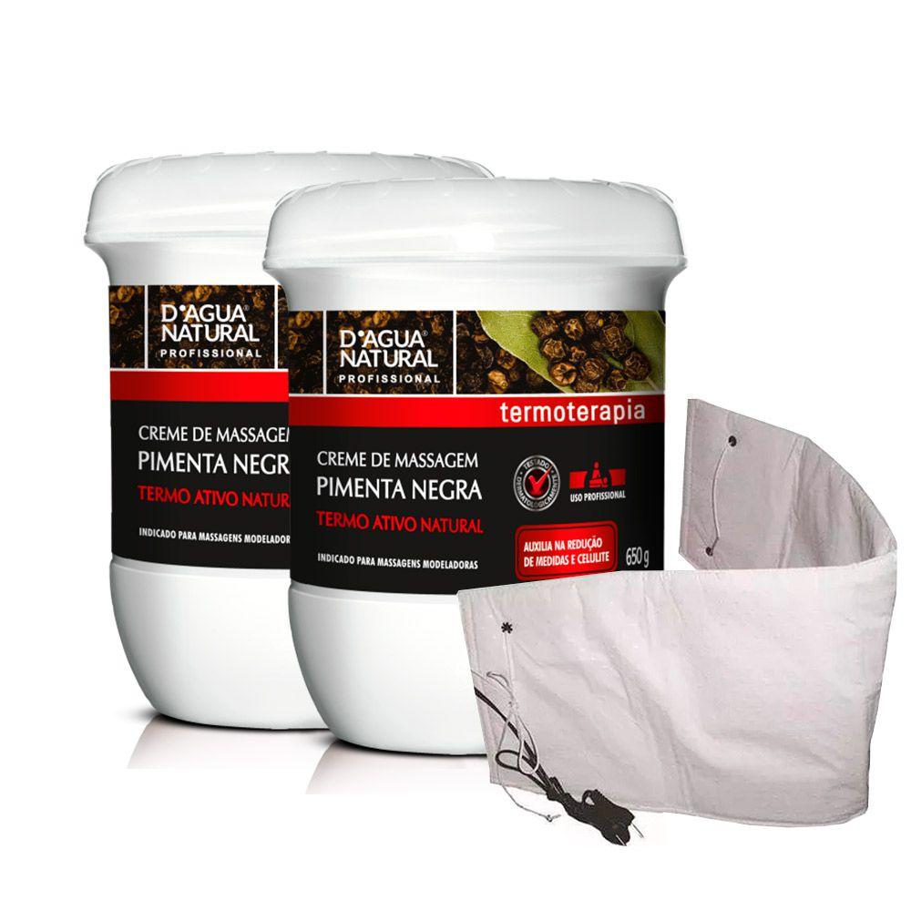 Kit 2 Cremes Pimenta Negra 650g Dagua Natural + Cinta Térmica Elétrica Santa Clara