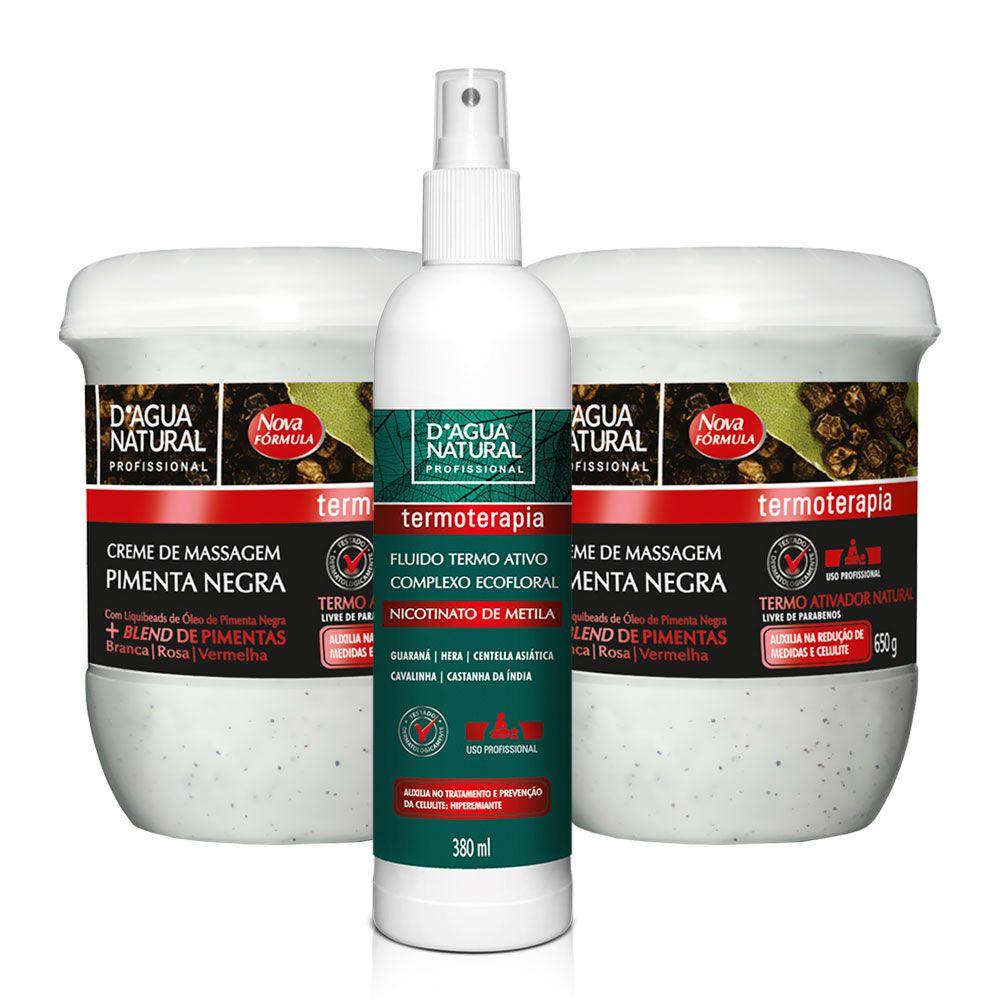 Kit 2 Cremes Pimenta Negra + Fluido Termo Ativo Dagua Natural