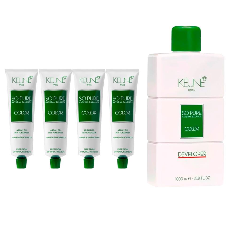 Kit 2 Keune So Pure 7 + 1 Keune So Pure 9.32 + 1 Keune So Pure 8.04 + Oxidante 20 Volumes
