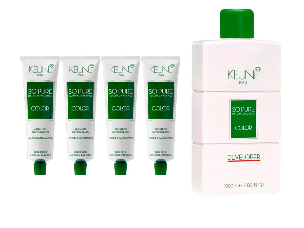 Kit 2 So Pure 7 Louro Médio + 2 So Pure 6.1 Louro Escuro Cinza + 1 Oxidante So Pure 20Vol 1000ml