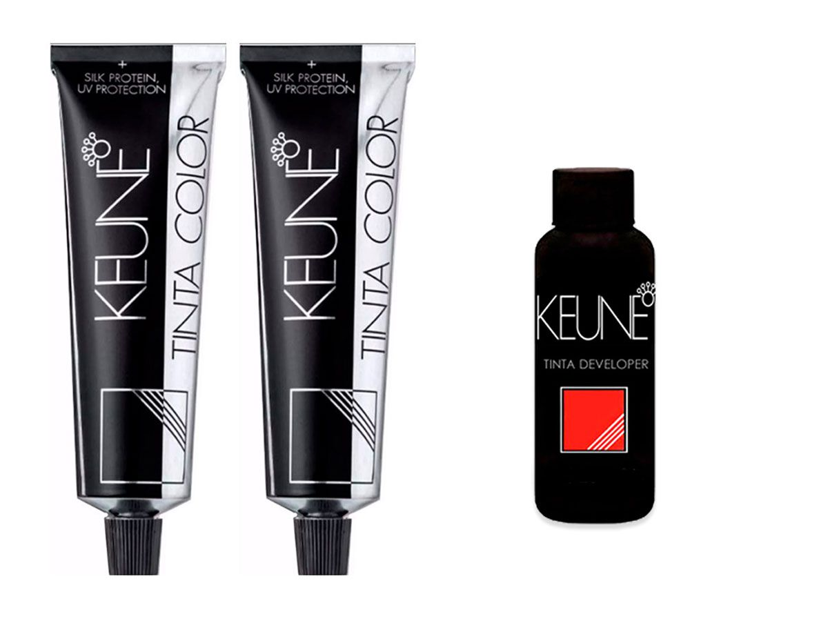 Kit 2 Tintas Keune Color 60ml - Cor 4 - Castanho Médio + 1 Oxidante Keune