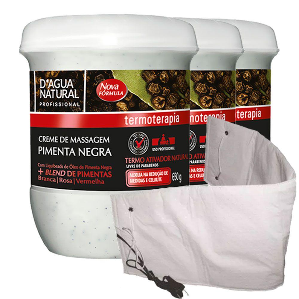 Kit 3 Cremes Pimenta Negra 650g Dagua Natural + Cinta Térmica Elétrica Santa Clara