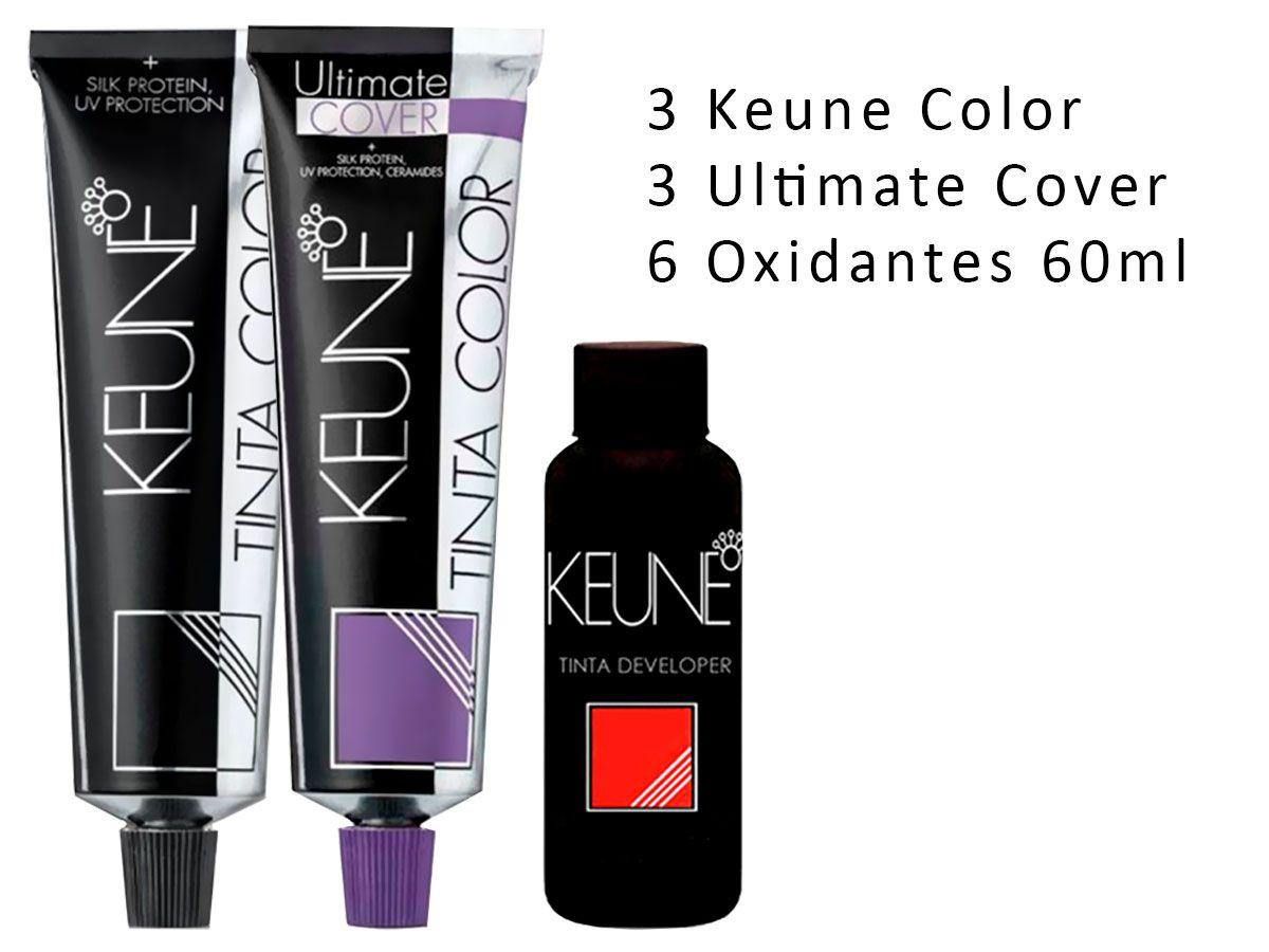 Kit 3 Keune 4.53 + 3 Ultimate Cover 6.00 + 6 Oxidantes 60ml