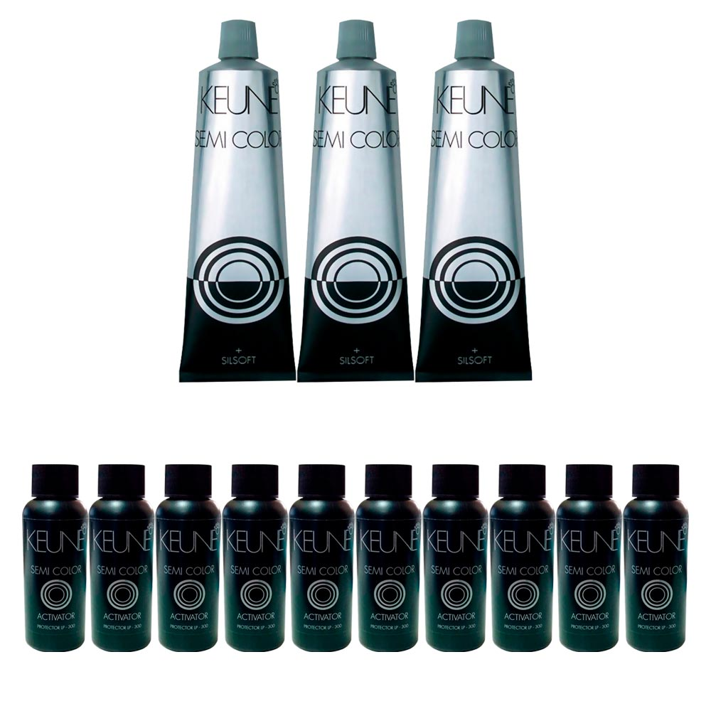 Kit  3 Keune Semi Color 60ml - Cor 5 - Castanho Claro + 10 Ativador 60ml