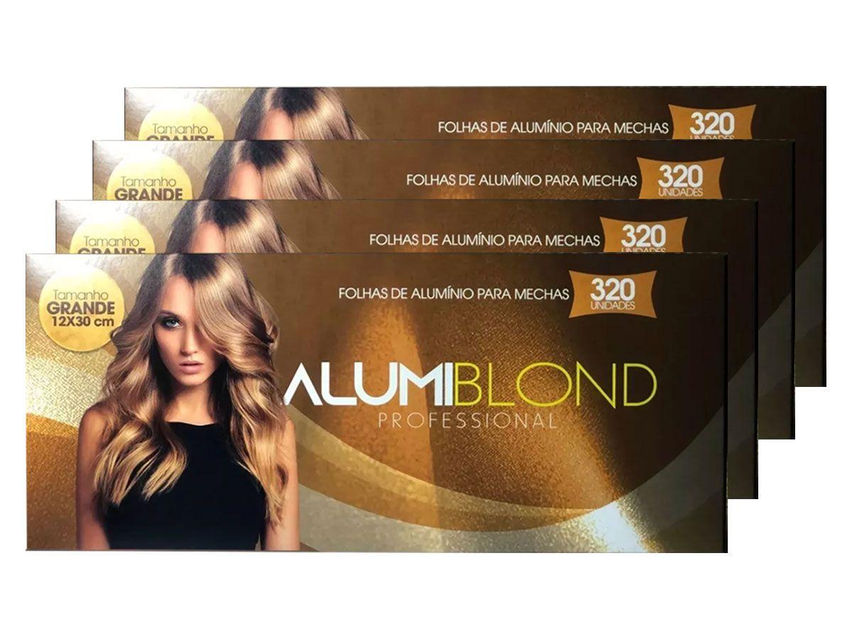 Kit 4 Caixas de Papel Alumínio para Mechas Alumiblonde - 320 Folhas - 9,5x30 320unid