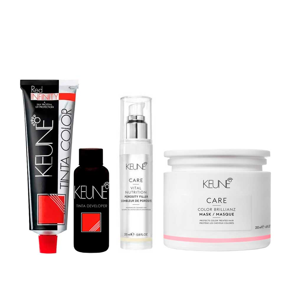 Kit 4 Keune Color RI 5.56 + 4 Ox de 10Vol + Porosity Filer 25ml + Color Brillianz Mask 200ml