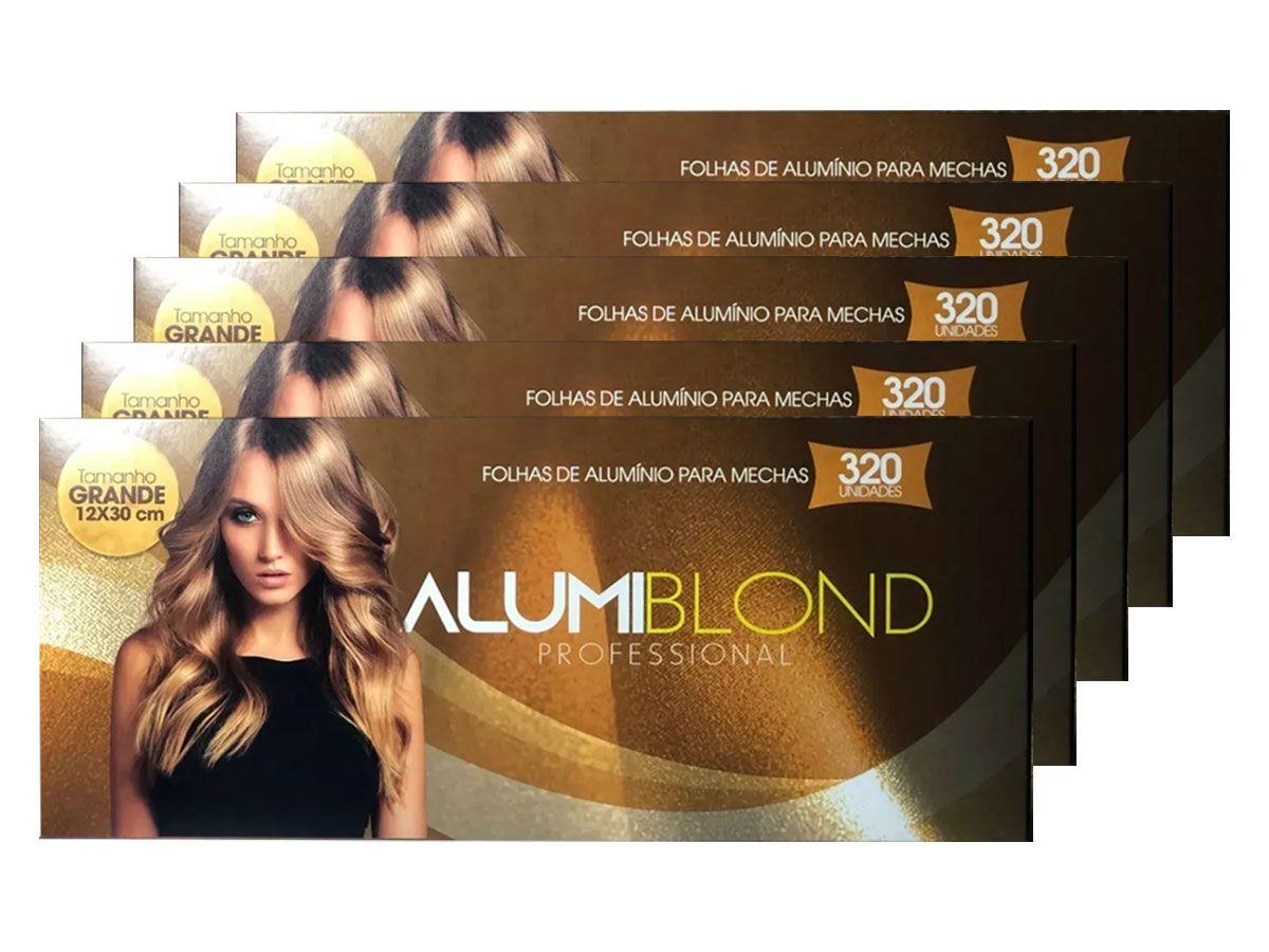 Kit 5 Caixas de Papel Alumínio para Mechas Alumiblonde - 320 Folhas - 9,5x30 320unid