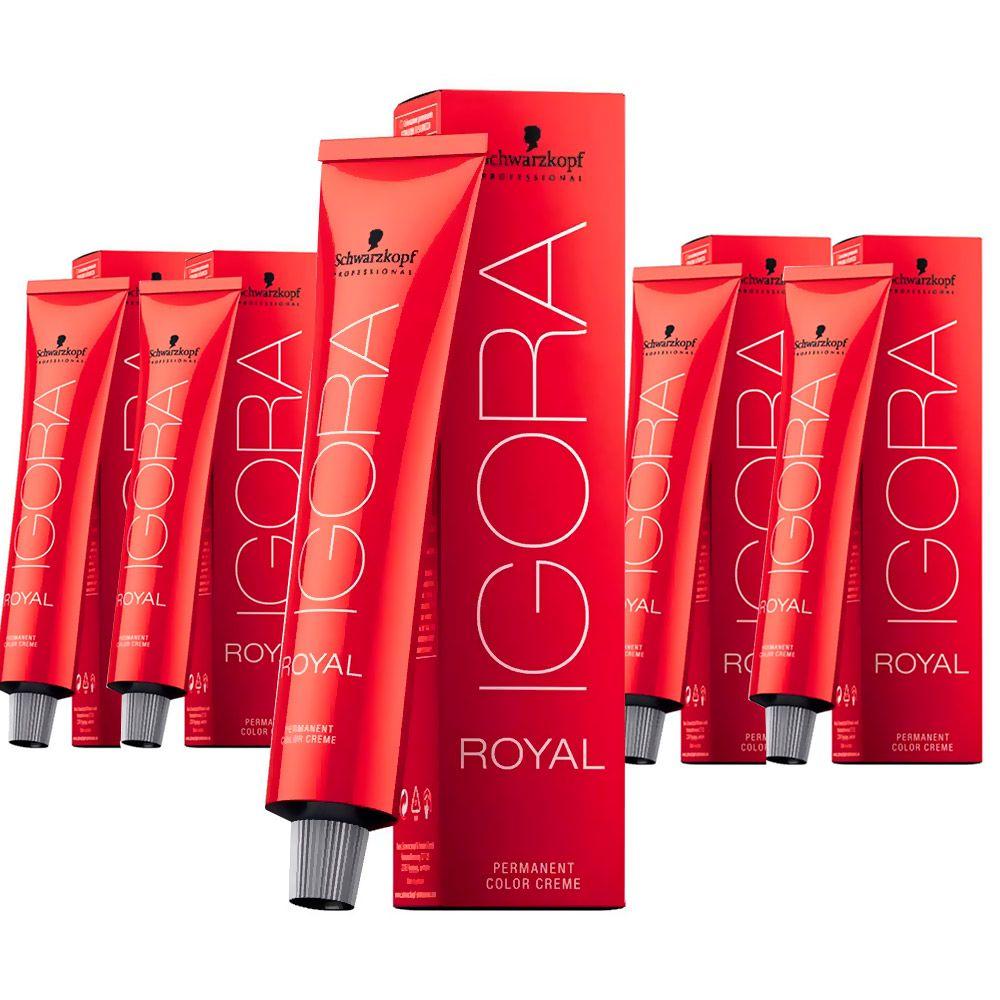 Kit 5 Tintas Igora Royal 60g - Cor 7.77 - Louro Médio Cobre Extra
