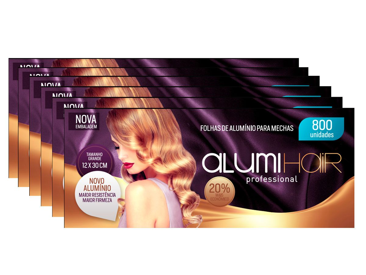 Kit 6 Caixas de Papel Aluminio Para Mechas Alumi Hair - 800 Folhas - 12x30cm