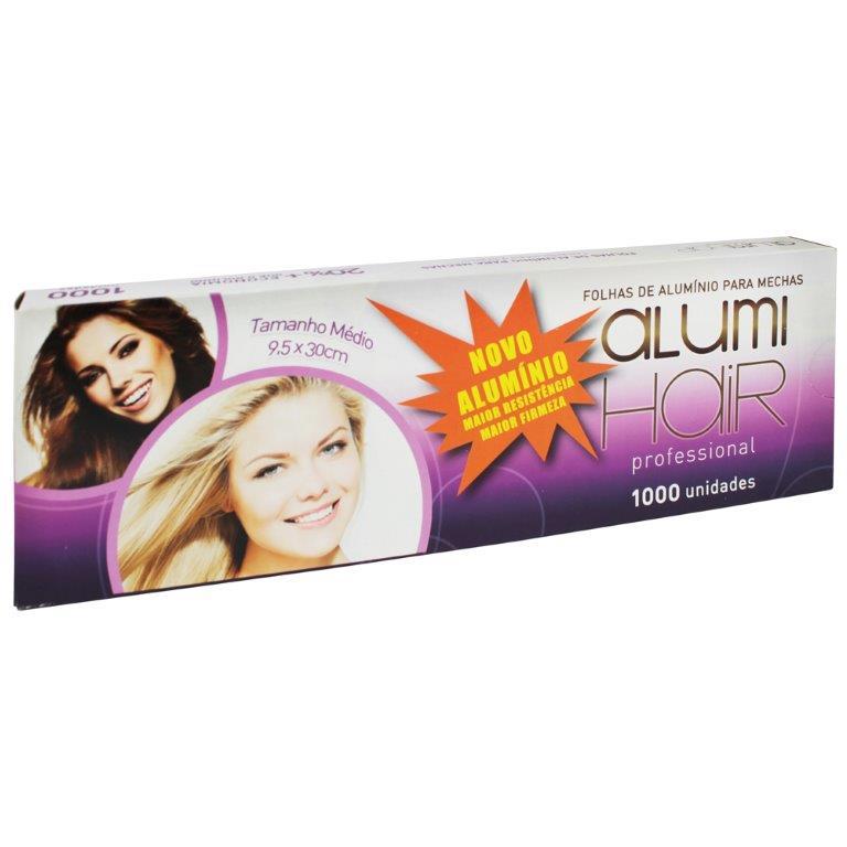 Kit com 12 caixas de Papel Alumínio para mechas Alumi Hair - 1000 Folhas - 9,5x30cm