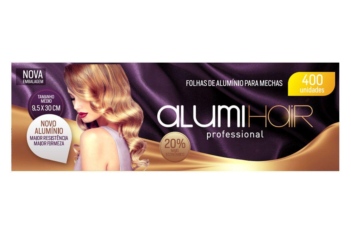 Kit com 12 caixas de Papel Alumínio para Mechas Alumi Hair - 400 Folhas - 9,5x30cm