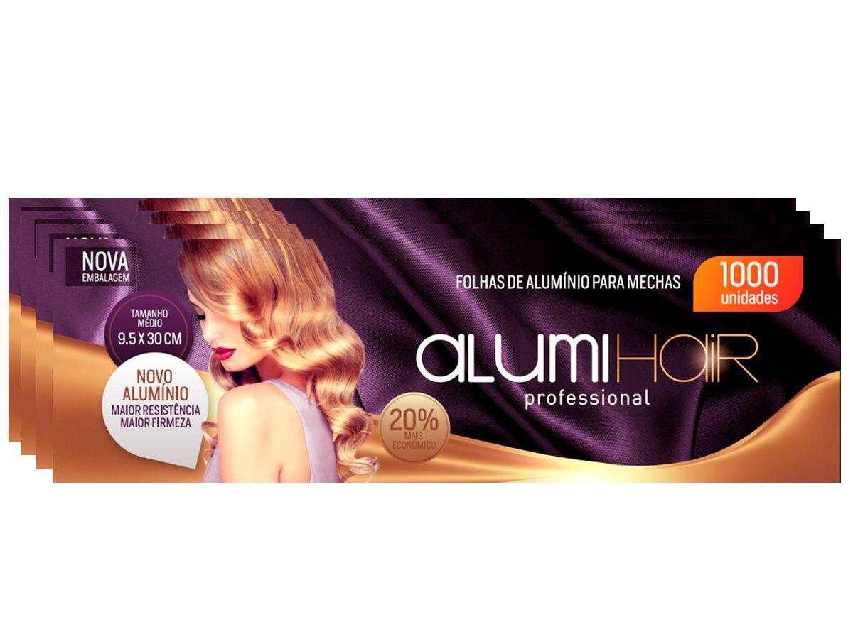Kit com 4 caixas de Papel Alumínio para mechas Alumi Hair - 1000 Folhas - 9,5x30cm