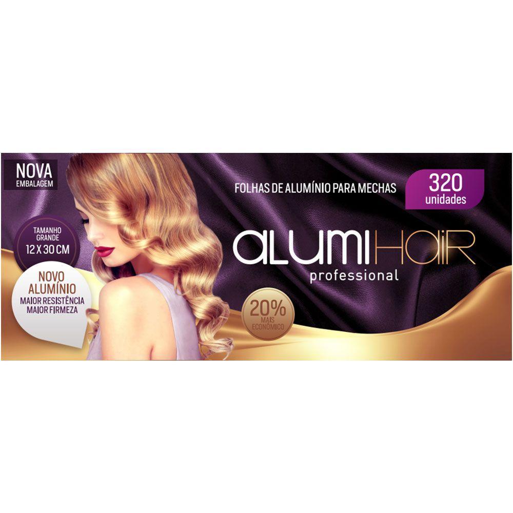 Kit com 4 caixas de Papel Alumínio para Mechas Alumi Hair - 320 Folhas - 12x30cm