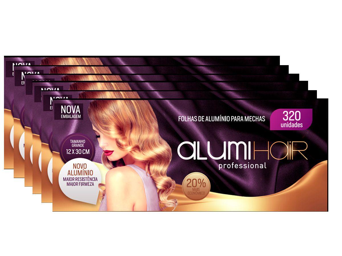 Kit com 6 caixas de Papel Alumínio para Mechas Alumi Hair - 320 Folhas - 12x30cm