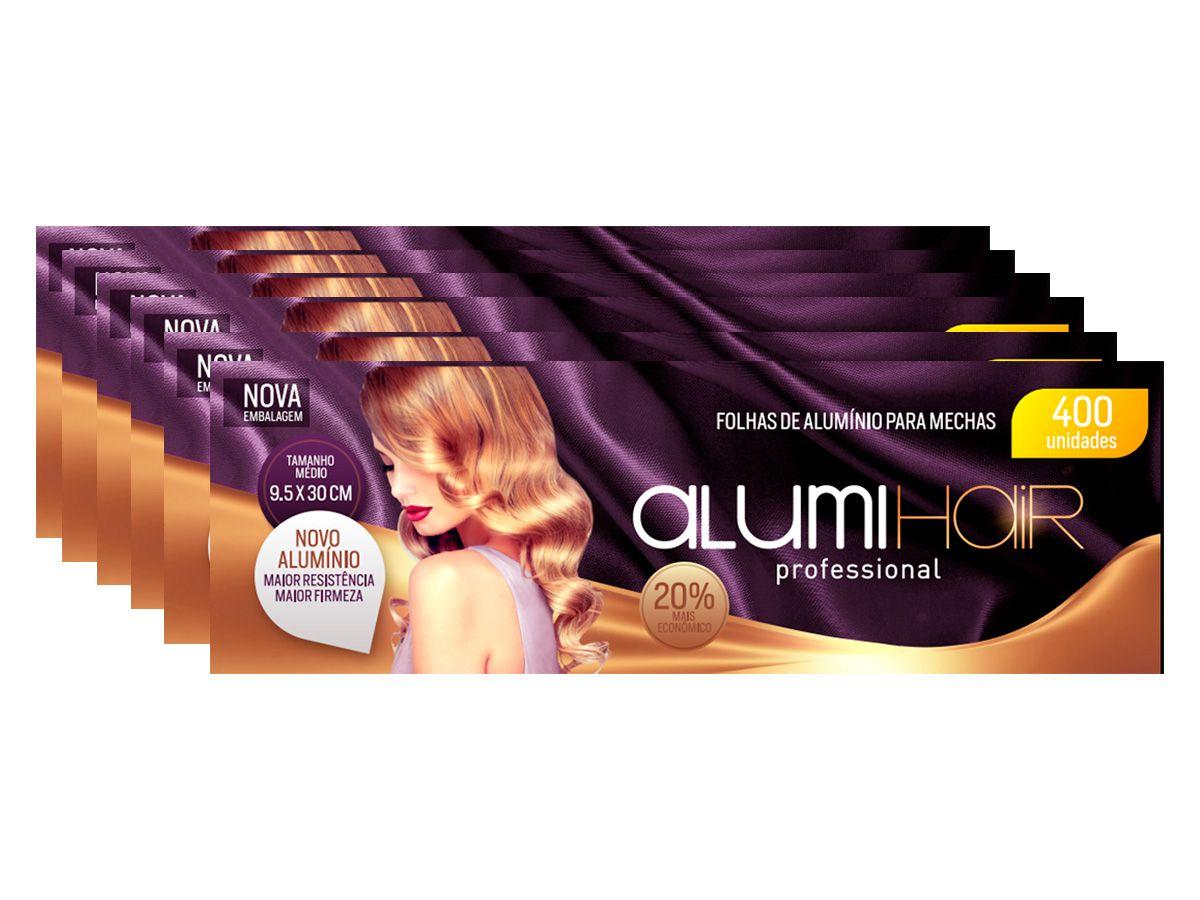 Kit com 6 caixas de Papel Alumínio Para Mechas Alumi Hair - 400 Folhas - 9,5x30cm