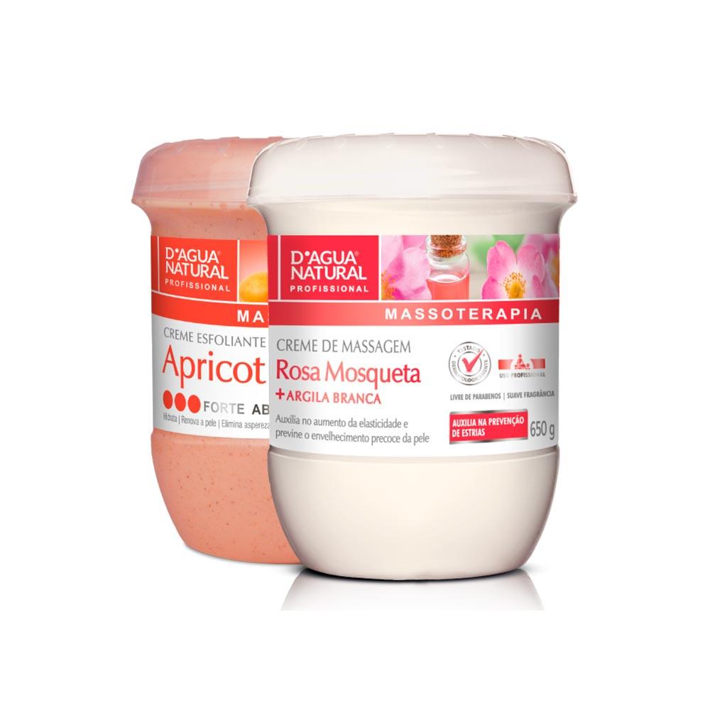 Kit Creme de Massagem Rosa Mosqueta 650g + Creme Esfoliante Apricot Forte 650g