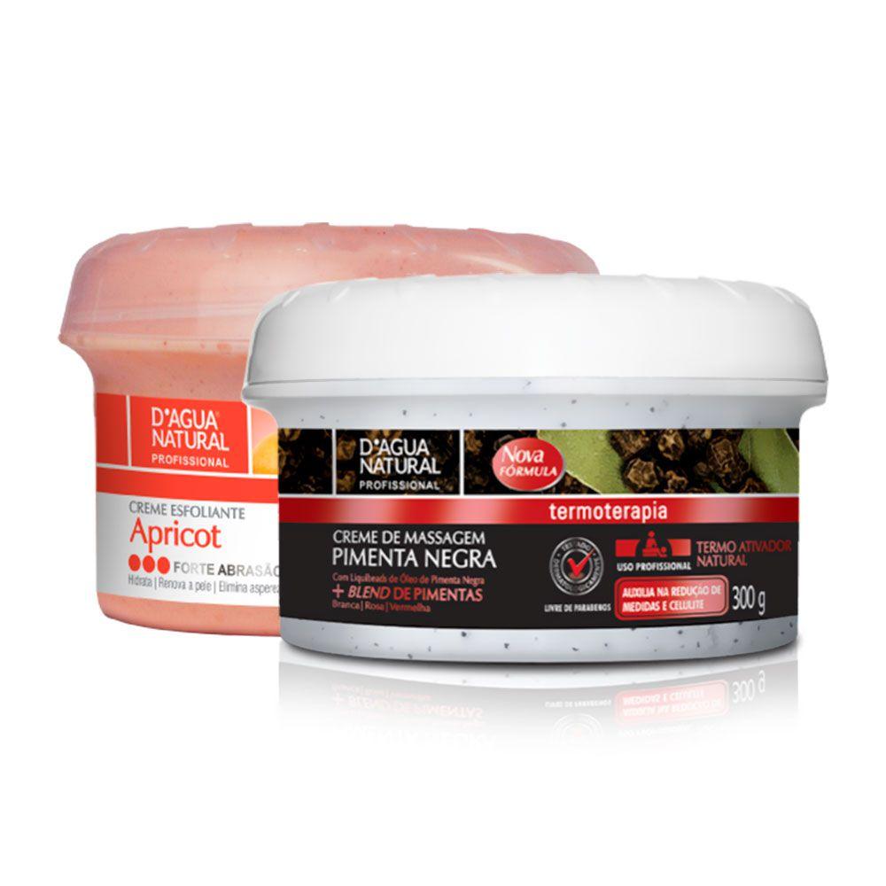 Kit Creme Pimenta Negra 300g  e Creme Esfoliante Forte 300g Dagua Natural