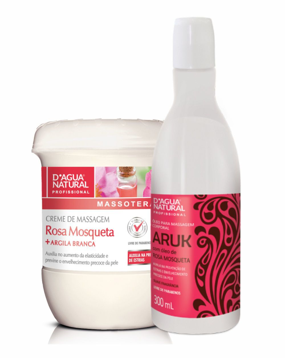 kit Creme Rosa Mosqueta 650g + Óleo Massagem Rosa Mosqueta 300ml Dagua Natural