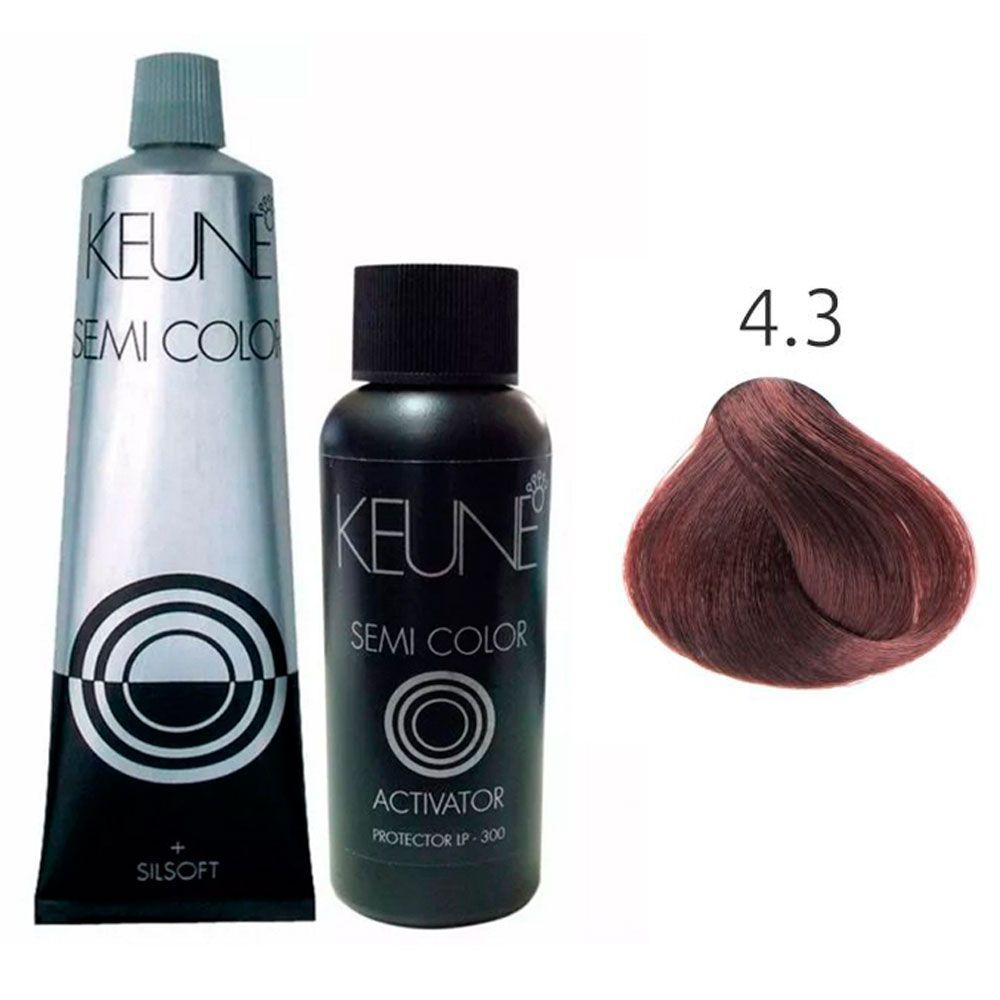 Kit Keune Semi Color 60ml - Cor 4.3 - Castanho Médio Dourado + Ativador 60ml