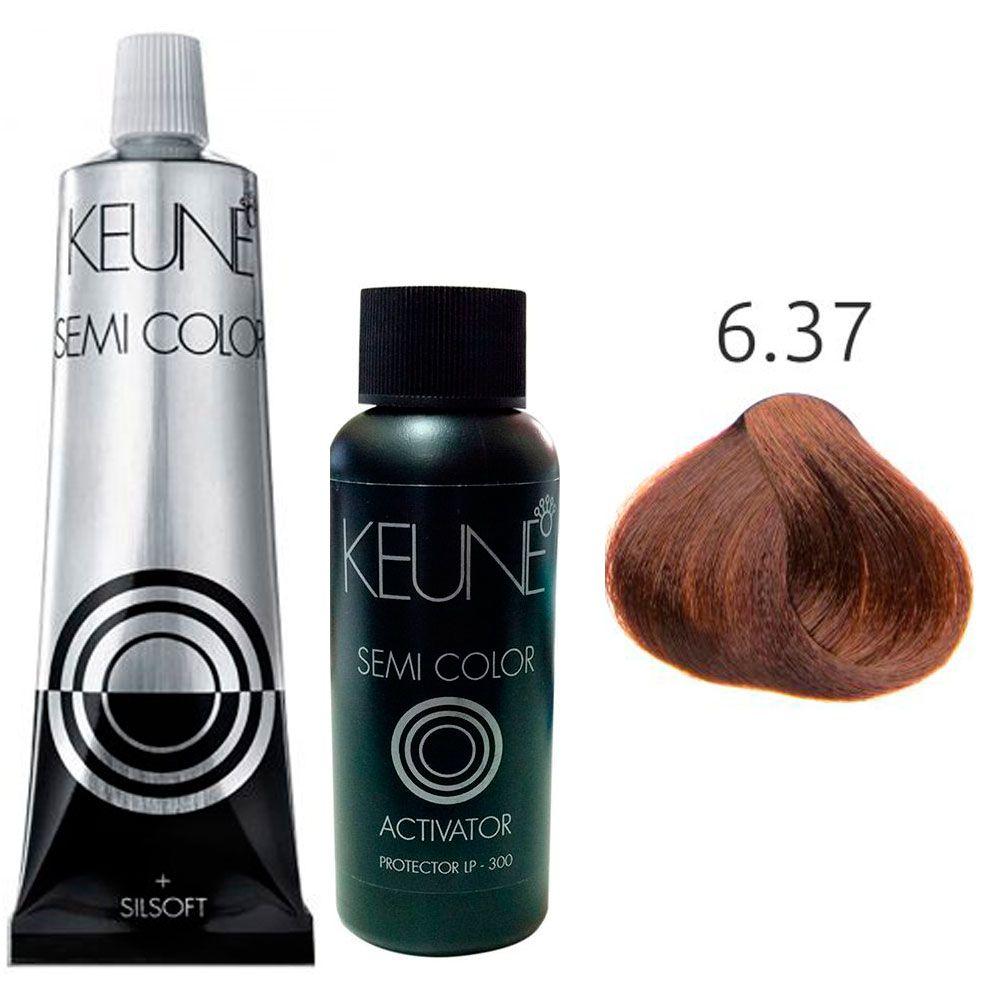 Kit Keune Semi Color 60ml - Cor 6.37 - Louro Escuro Dourado Violeta + Ativador 60ml