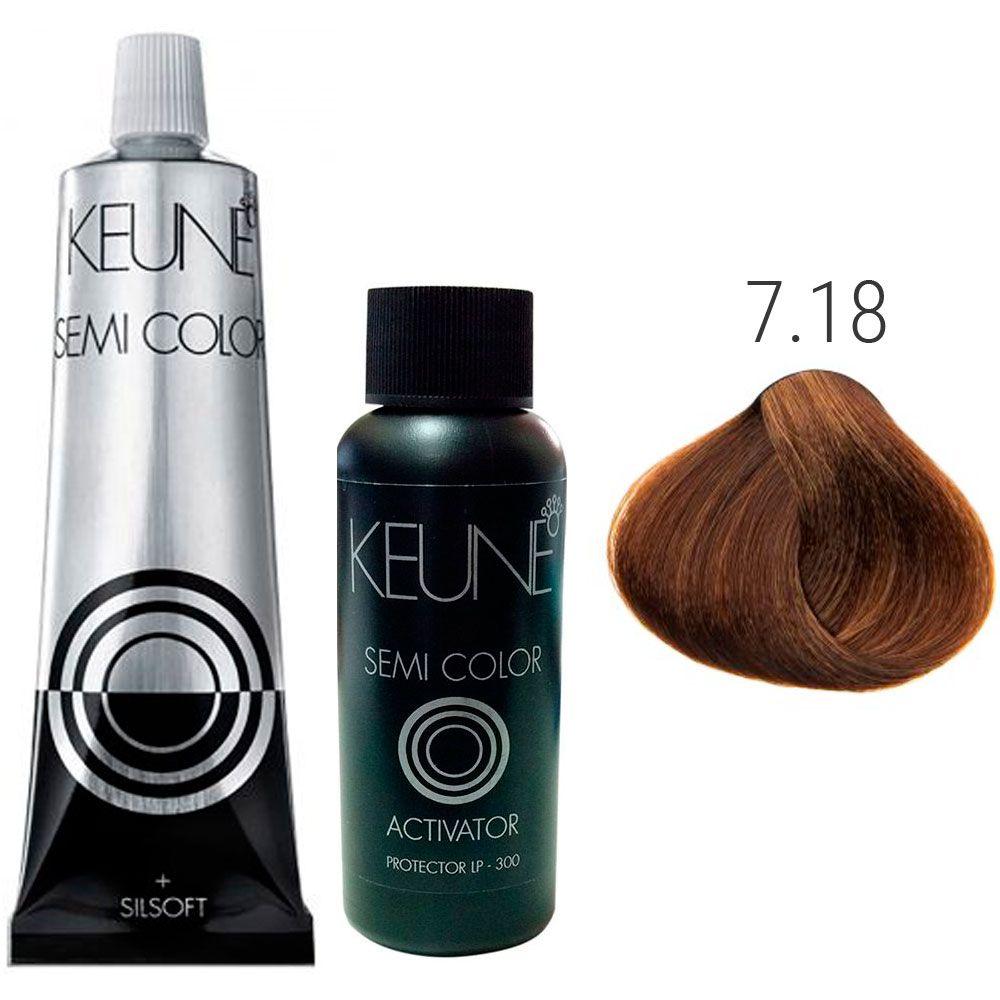 Kit Keune Semi Color 60ml - Cor 7.18 - Louro Médio Metálico + Ativador 60ml