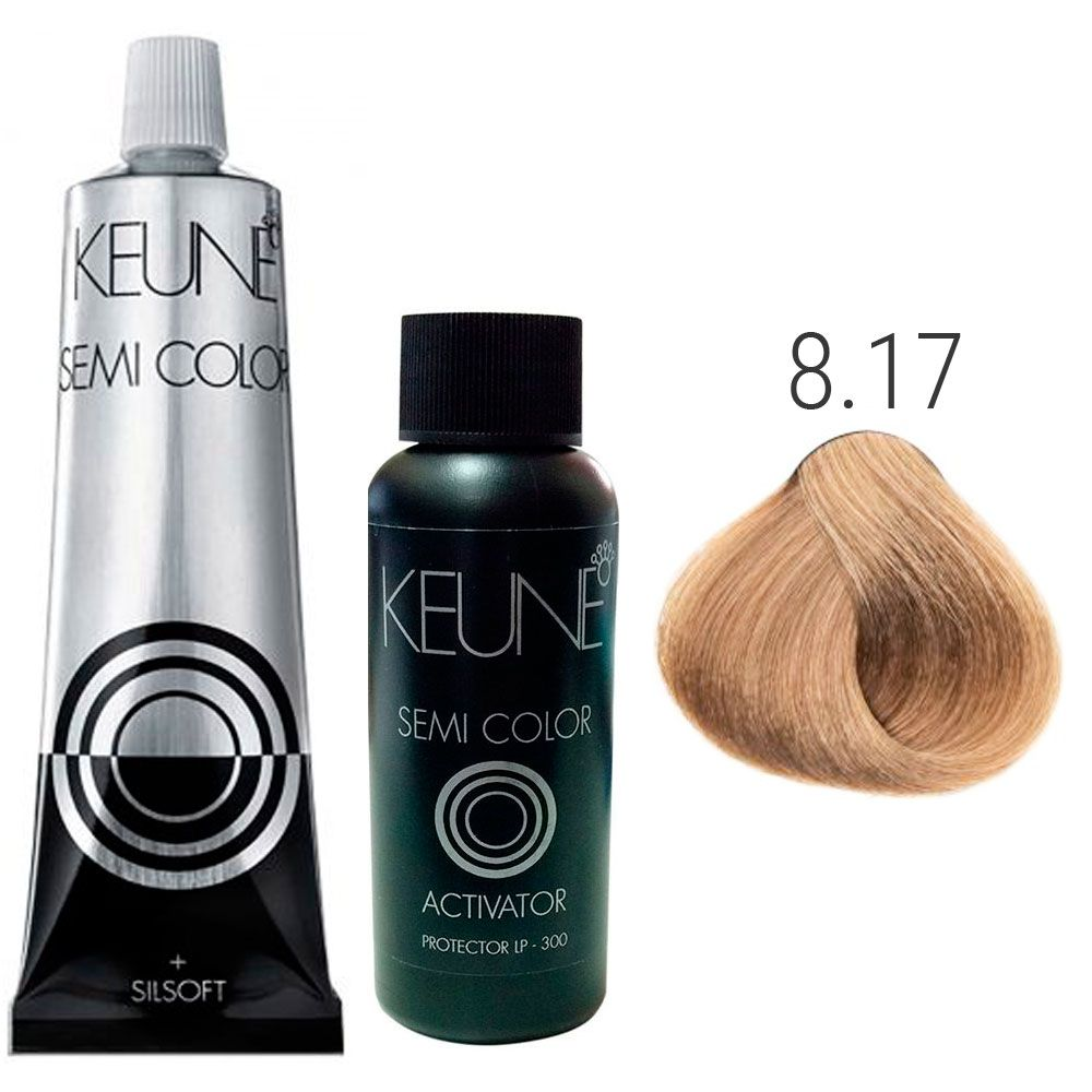Kit Keune Semi Color 60ml - Cor 8.17 - Louro Claro Cinza Violeta + Ativador 60ml