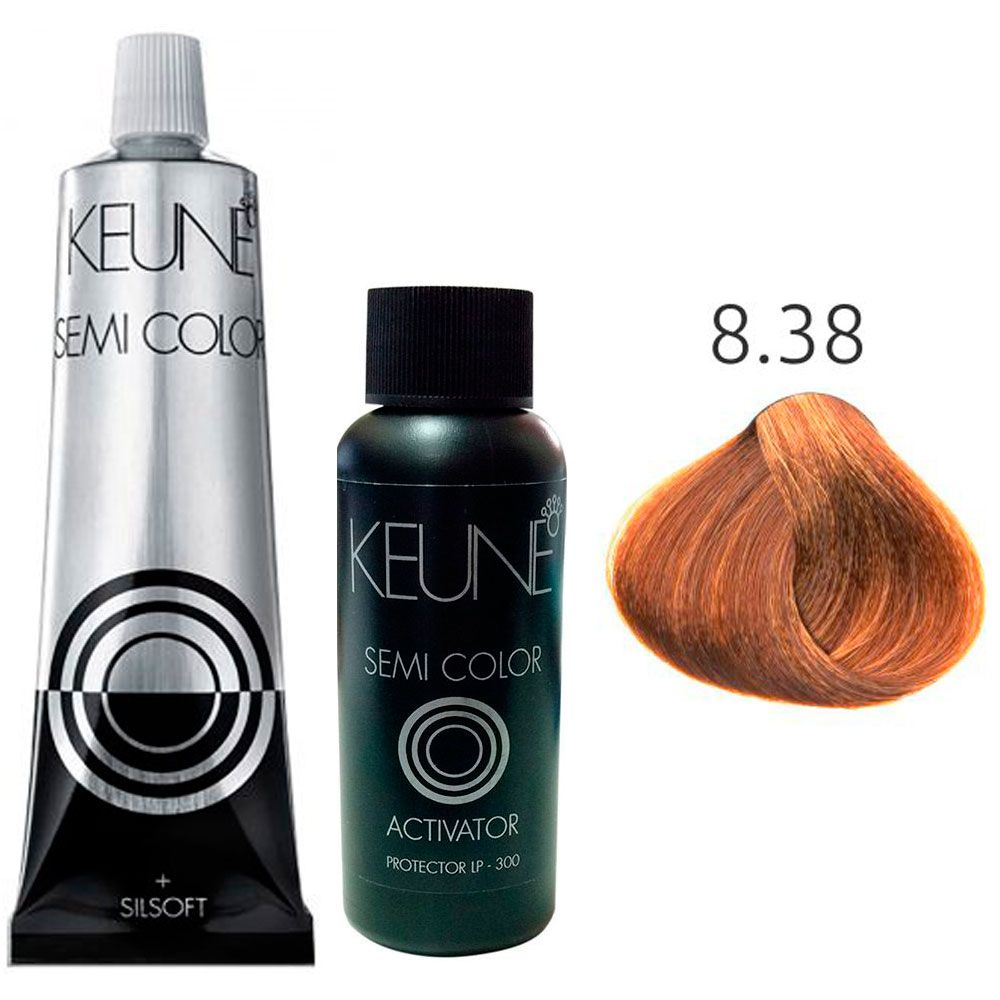 Kit Keune Semi Color 60ml - Cor 8.38 - Louro Claro Avelã + Ativador 60ml