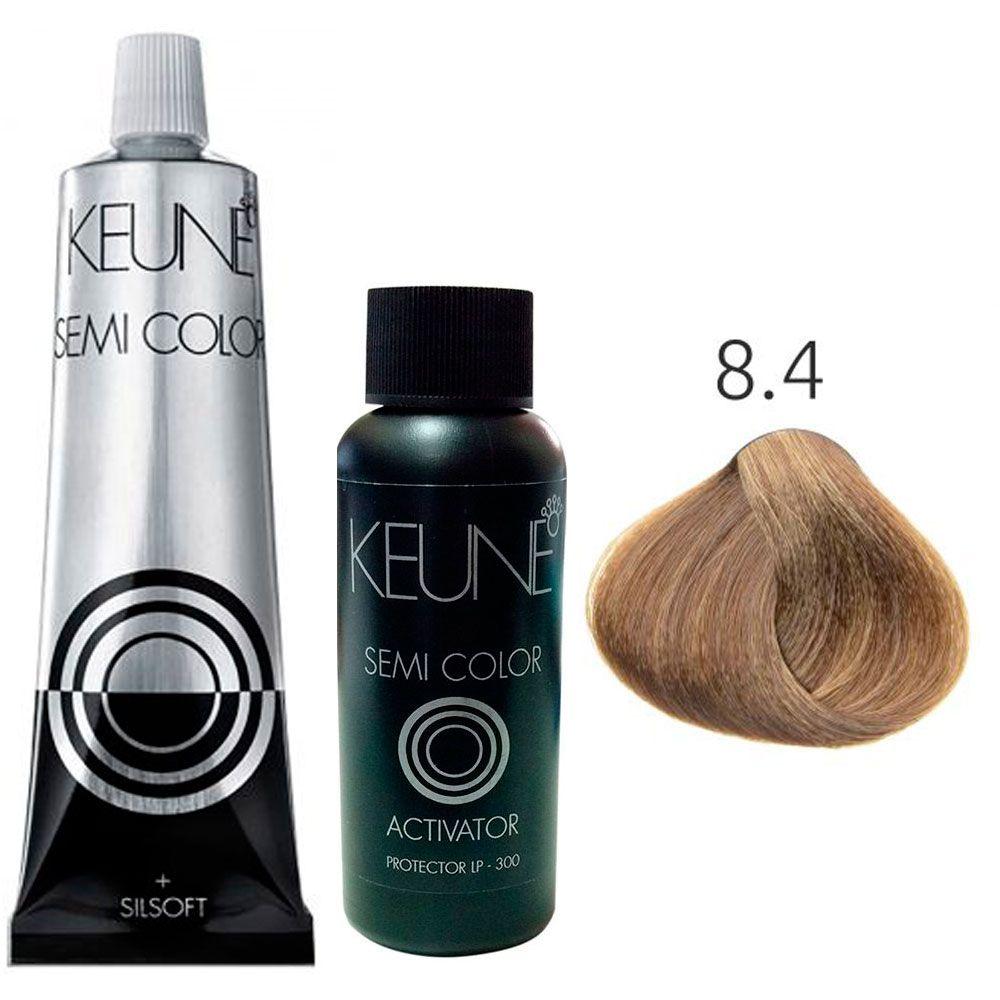 Kit Keune Semi Color 60ml - Cor 8.4 - Louro Claro Cobre + Ativador 60ml