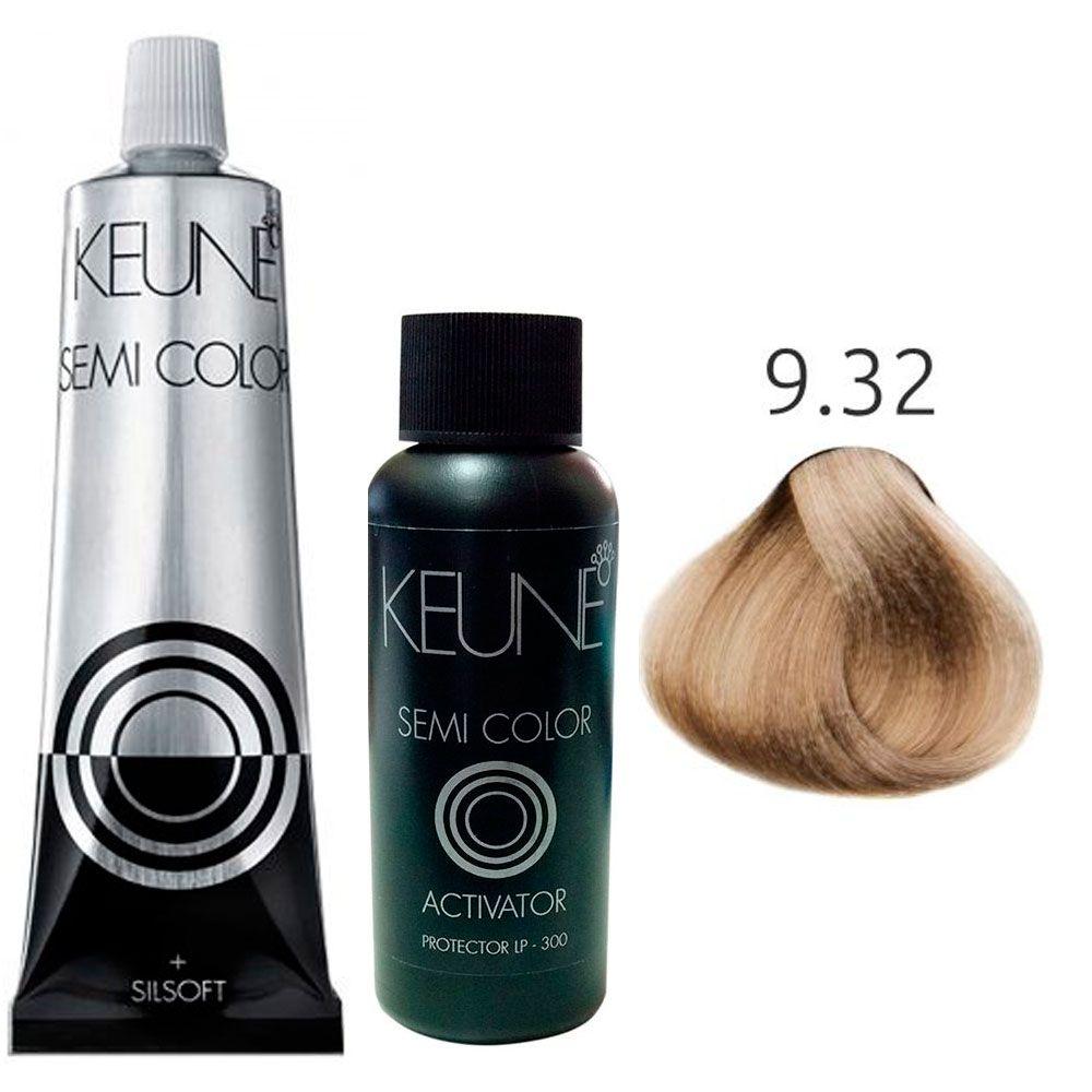 Kit Keune Semi Color 60ml - Cor 9.32 - Louro Muito Claro Bege + Ativador 60ml
