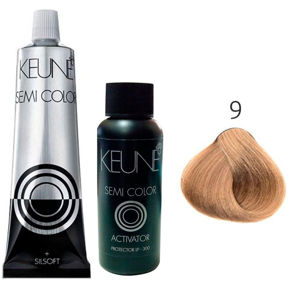 Kit Keune Semi Color 60ml - Cor 9 - Louro Muito Claro + Ativador 60ml