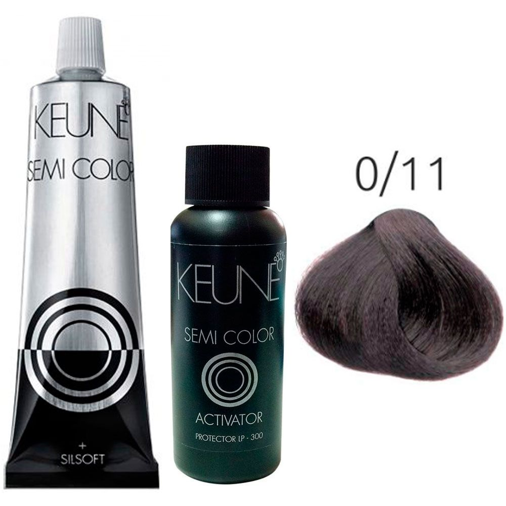 Kit Keune Semi Color 60ml - Mix 0/11 - Azul Cinza + Ativador 60ml