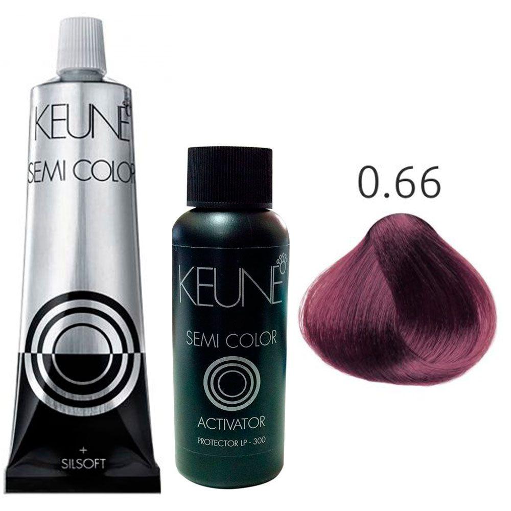 Kit Keune Semi Color 60ml - Mix 0/66 - Vermelho + Ativador 60ml