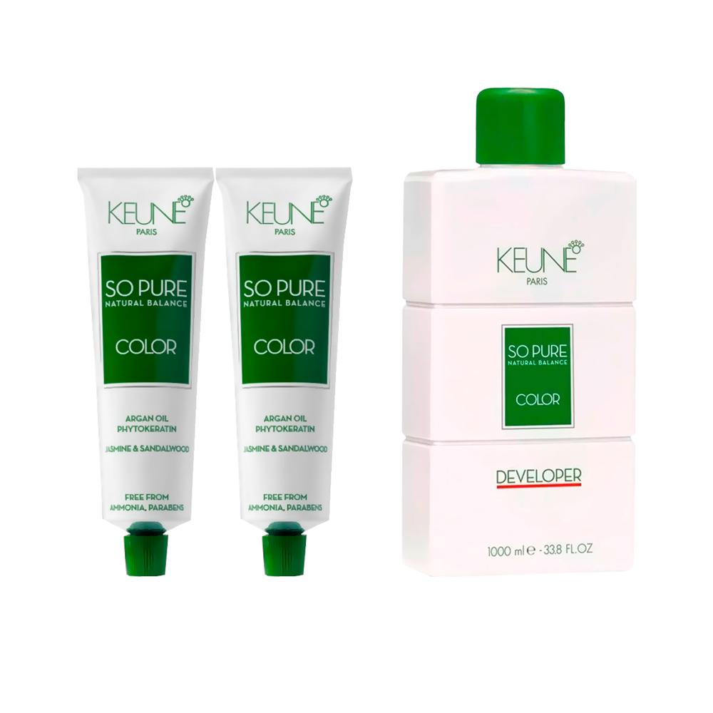 Kit Keune So Pure 8.1 + So Pure 7.34 + Oxidante 1000ml 20Vol