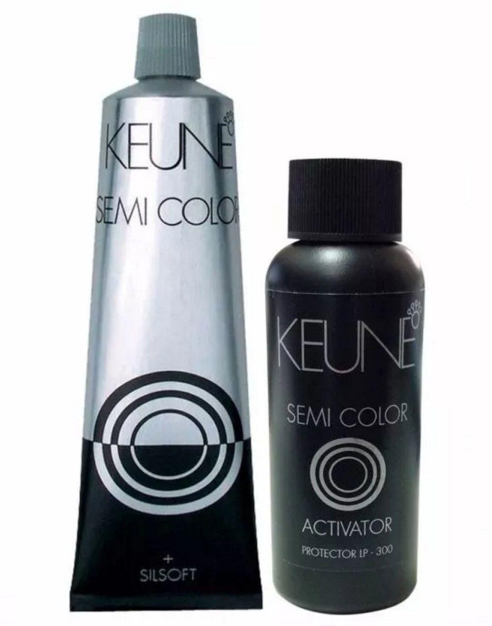 Kit Keune Tonalizante 60ml - Cor 7.18 - Louro Médio Metálico + Ativador 60ml