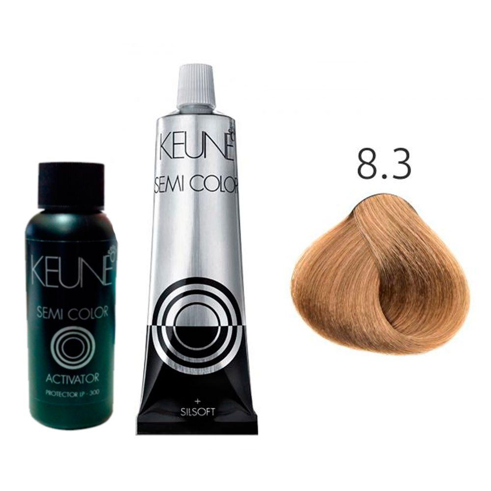 Kit Keune Tonalizante 60ml - Cor 8.3 - Louro Claro Dourado + Ativador 60ml