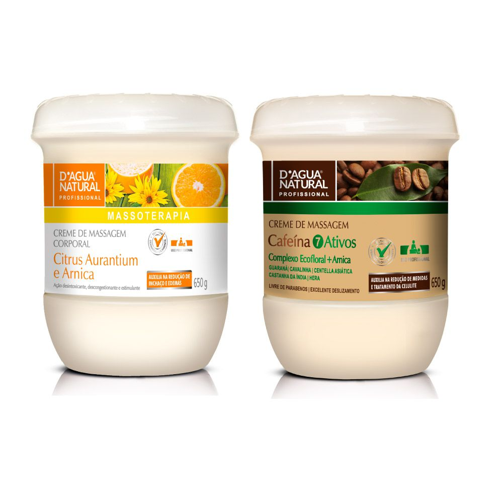 Kit Massagem Cafeína 7 Ativos e Creme Citrus e Arnica Dagua Natural