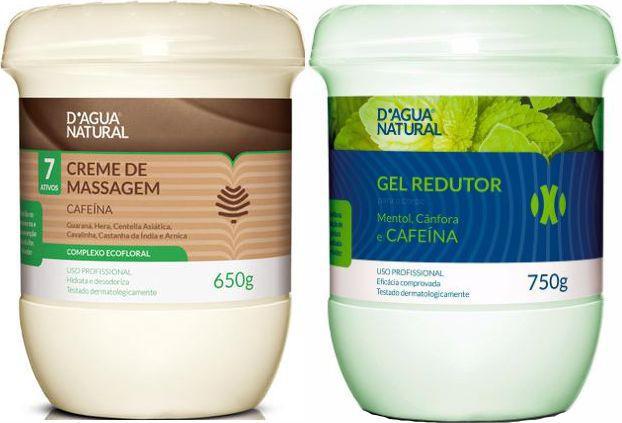Kit Massagem Cafeína 7 Ativos e Gel Redutor Dagua Natural