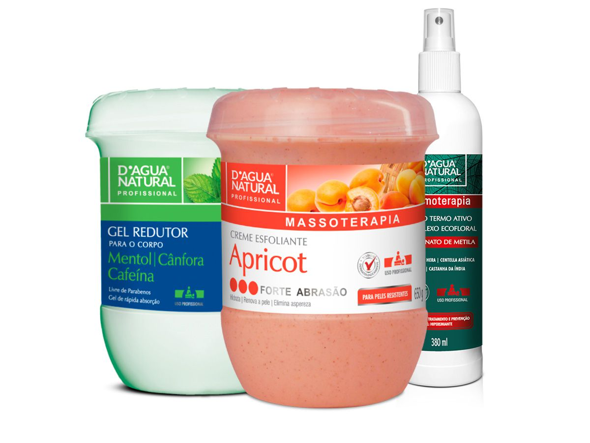 Kit Massagem Fluido Termo Ativo, Esfoliante Forte e Gel Redutor Dagua Natural