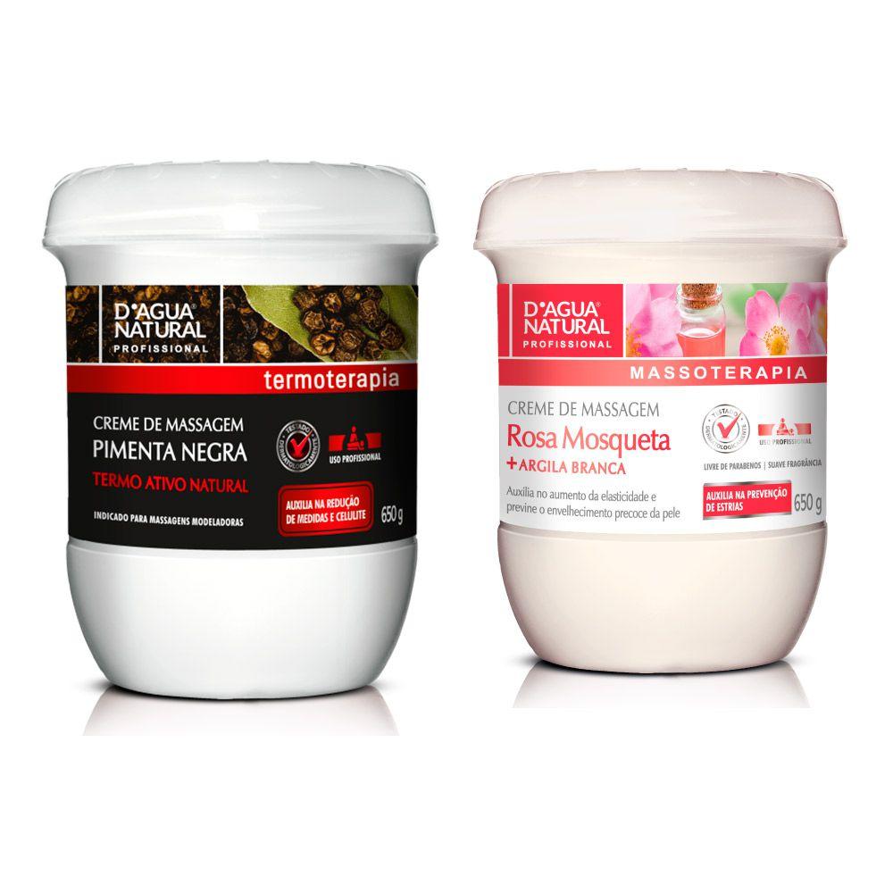 Kit Creme Pimenta Negra e Creme para Estrias Rosa Mosqueta Dagua Natural
