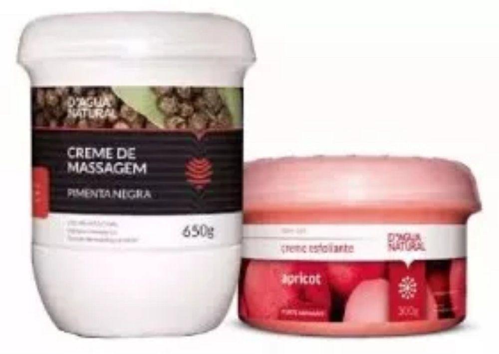 Kit Massagem Pimenta Negra  e Esfoliante Forte 300g Dagua Natural